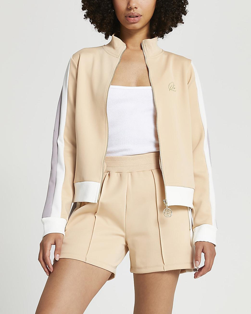 Beige premium zip through jacket