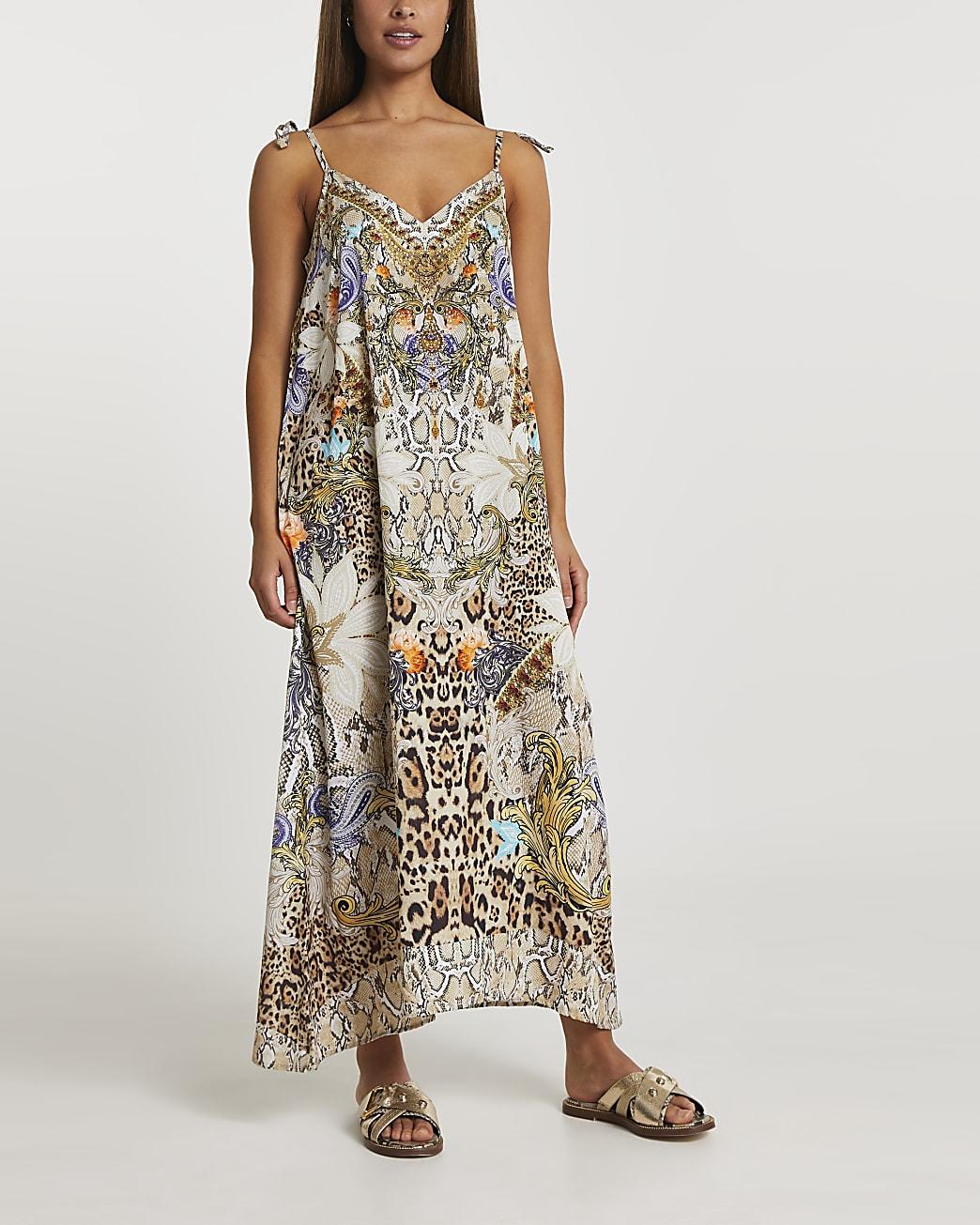 Beige print maxi dress