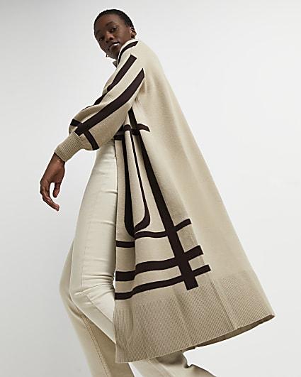 Beige printed longline cardigan