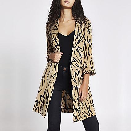 Beige printed longline duster jacket