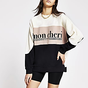 Beige printed 'mon cheri' colour block sweat