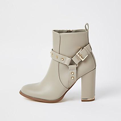 Beige PU block heel boots