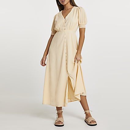 Beige puff sleeve button down midi dress