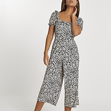 Beige puff sleeve leopard print jumpsuit