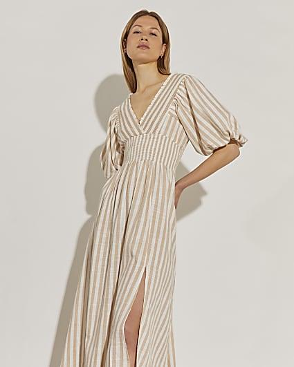 Beige puff sleeve maxi dress