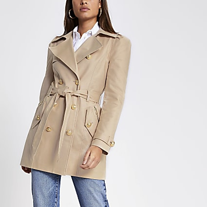 Beige puff sleeve trench coat