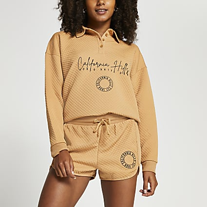 Beige quilted California embroidered shorts