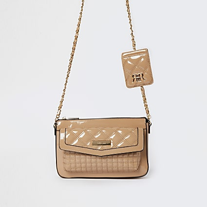 Beige quilted cross body bag