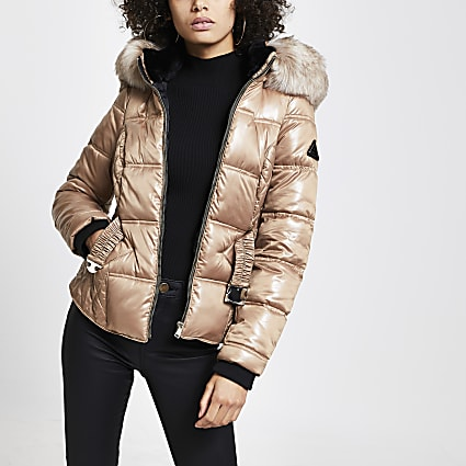 Beige quilted double zip padded coat