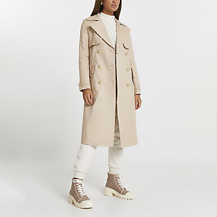 Beige quilted longline trench coat