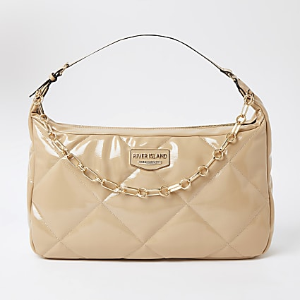 Beige quilted shoulder handbag