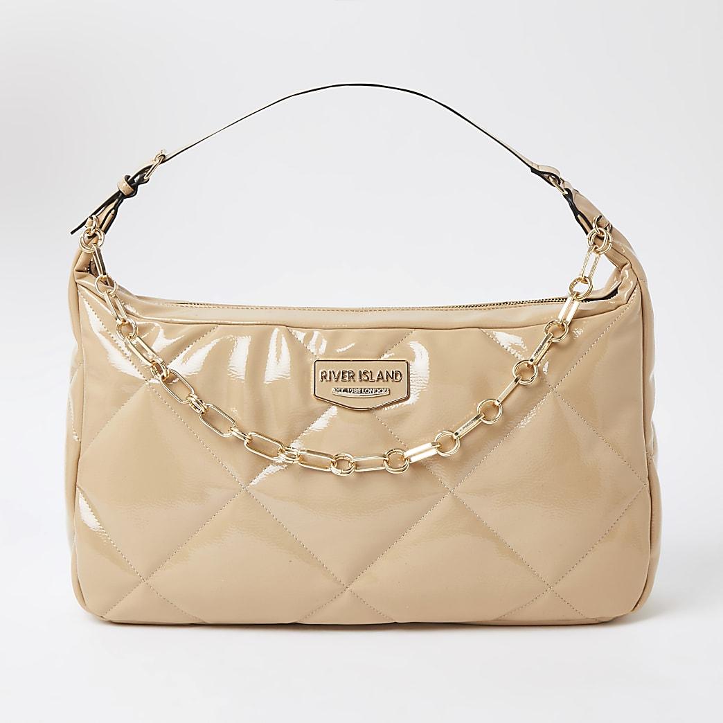 Beige quilted shoulder handbag