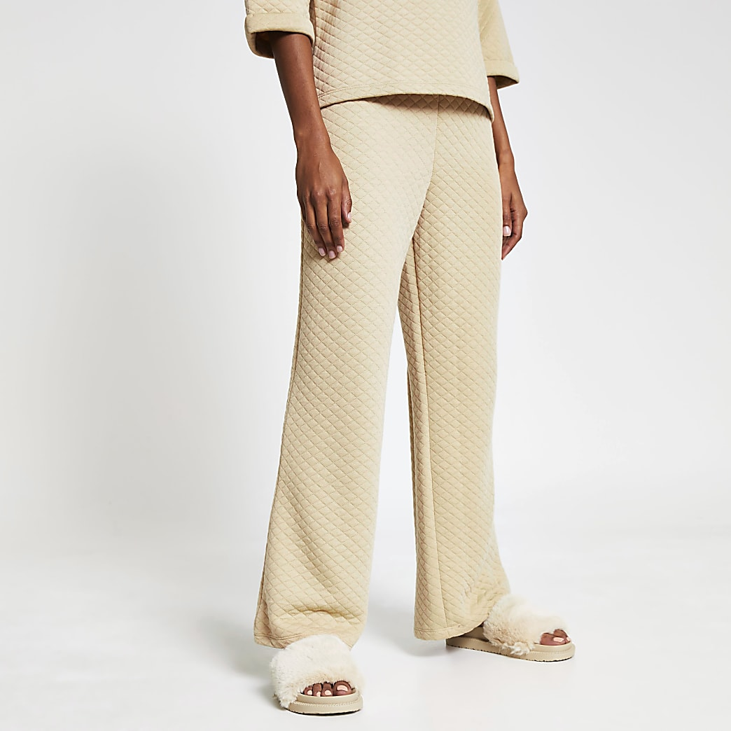 Beige quilted wide leg trouser