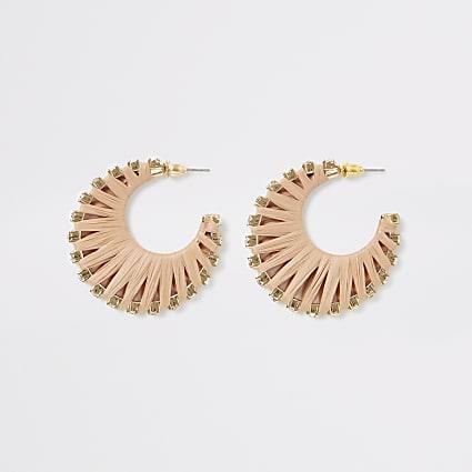 Beige raffia diamante hoop earrings