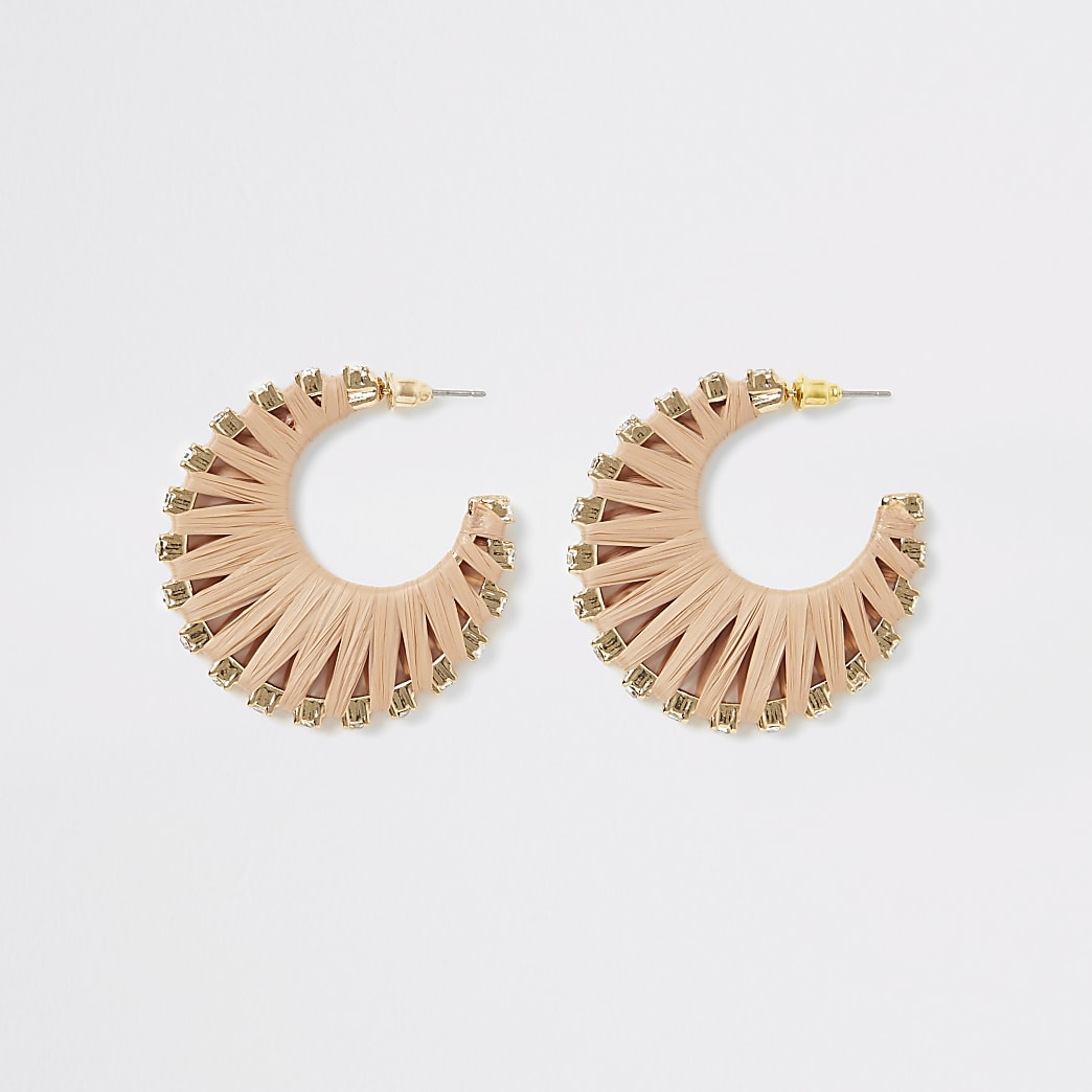 Beige raffia diamante hoop earrings
