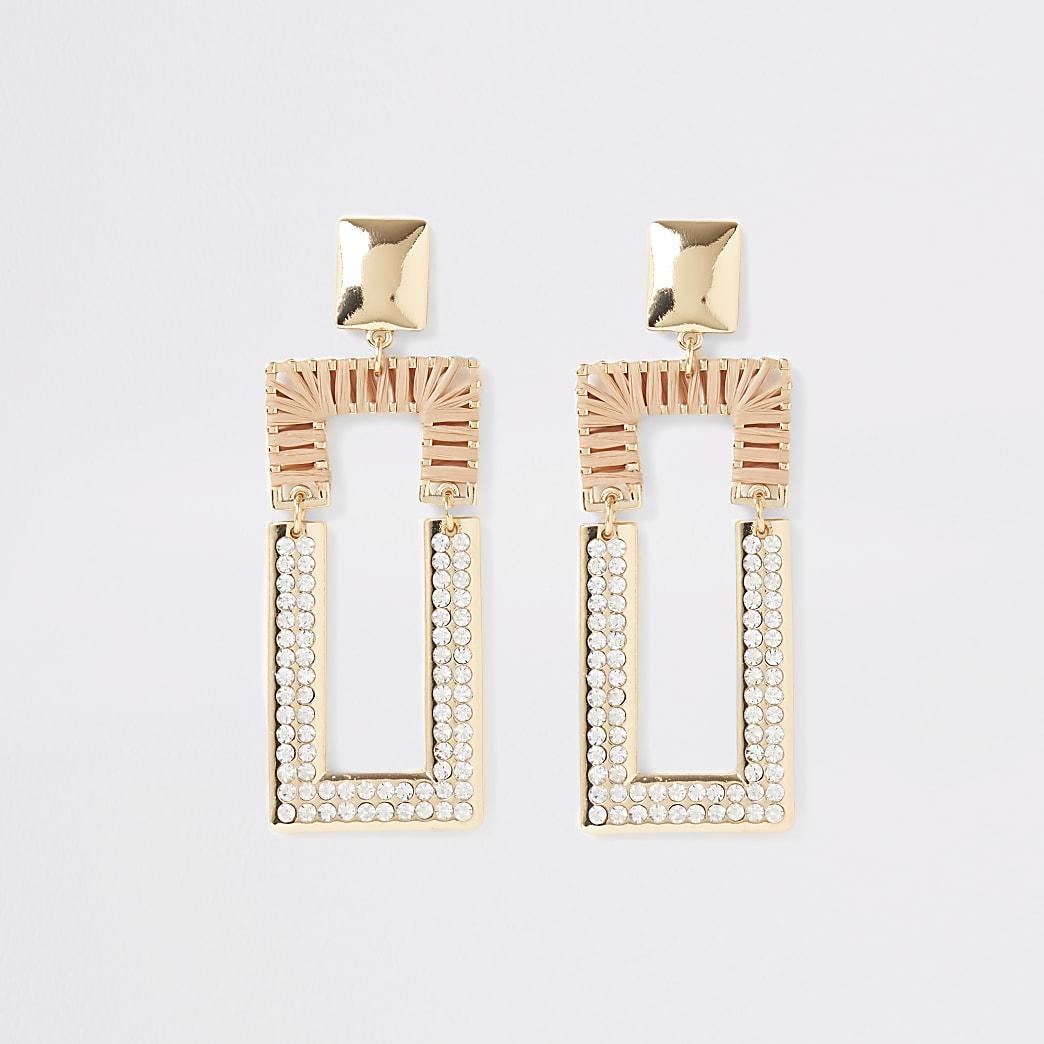 Boucles d'oreilles à pendentifs rectangulaires en raphia à strass beige
