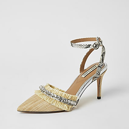 Beige raffia embellished heeled court shoe
