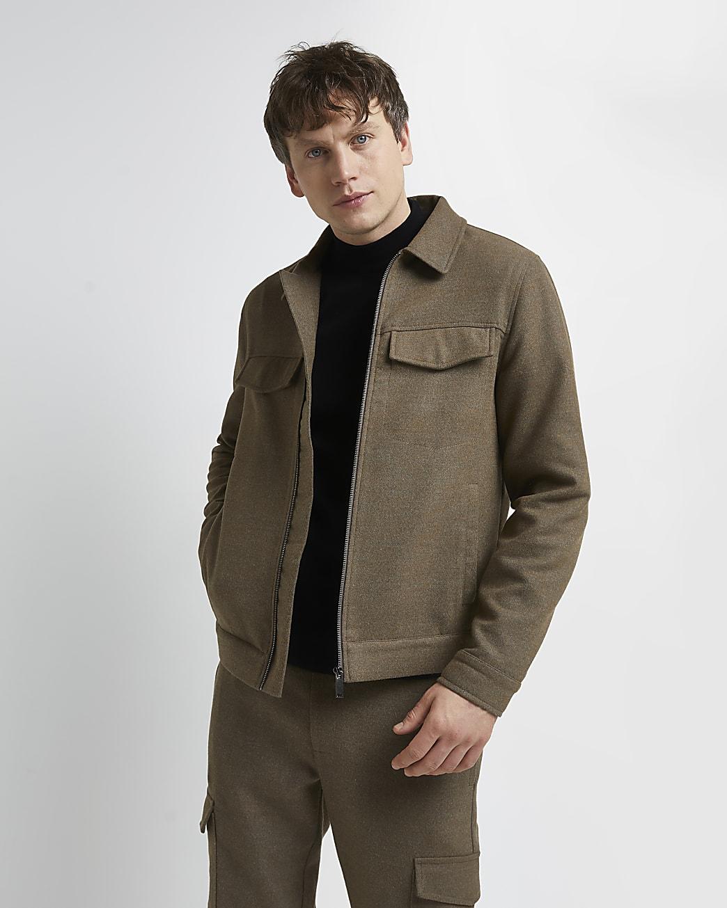 Beige regular fit flannel zip front shacket