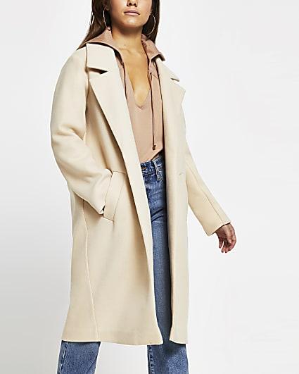 Beige relaxed longline coat