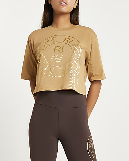 Beige RI Active cropped t-shirt