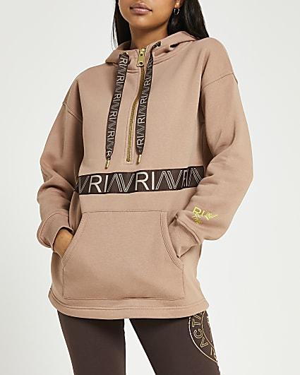 Beige RI Active half zip hoodie