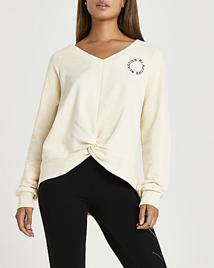 Beige RI Active twist front sweatshirt