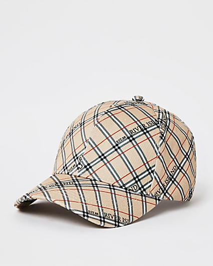 Beige RI branded check print cap