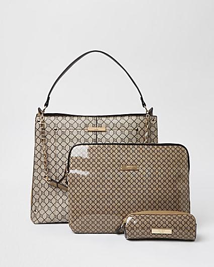 Beige RI branded handbag and laptop case set