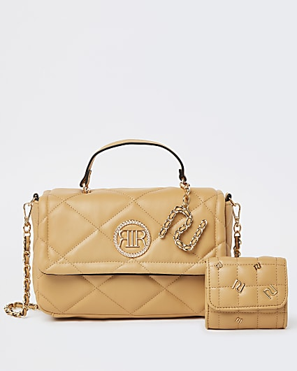 Beige RI branded quilted cross body bag