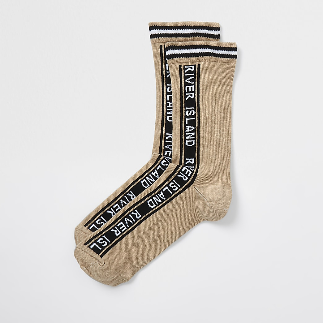 Beige RI branded tube socks