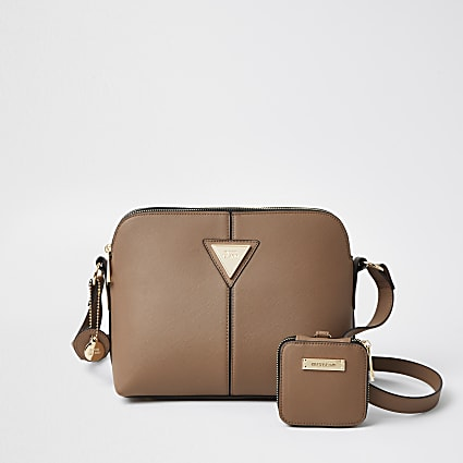 Beige RI cross body bag and pouch