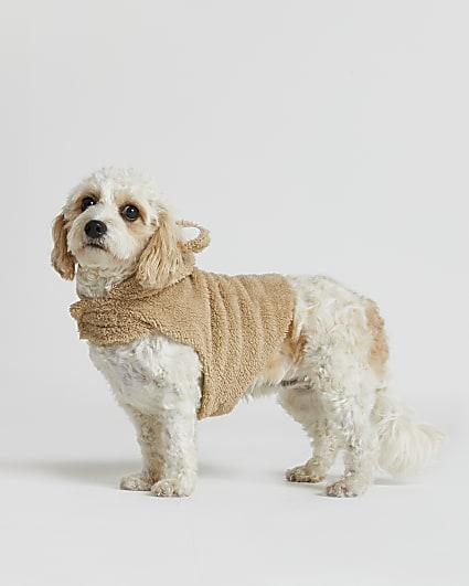 Beige RI Dog borg hoodie
