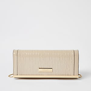 Beige RI embossed clutch bag