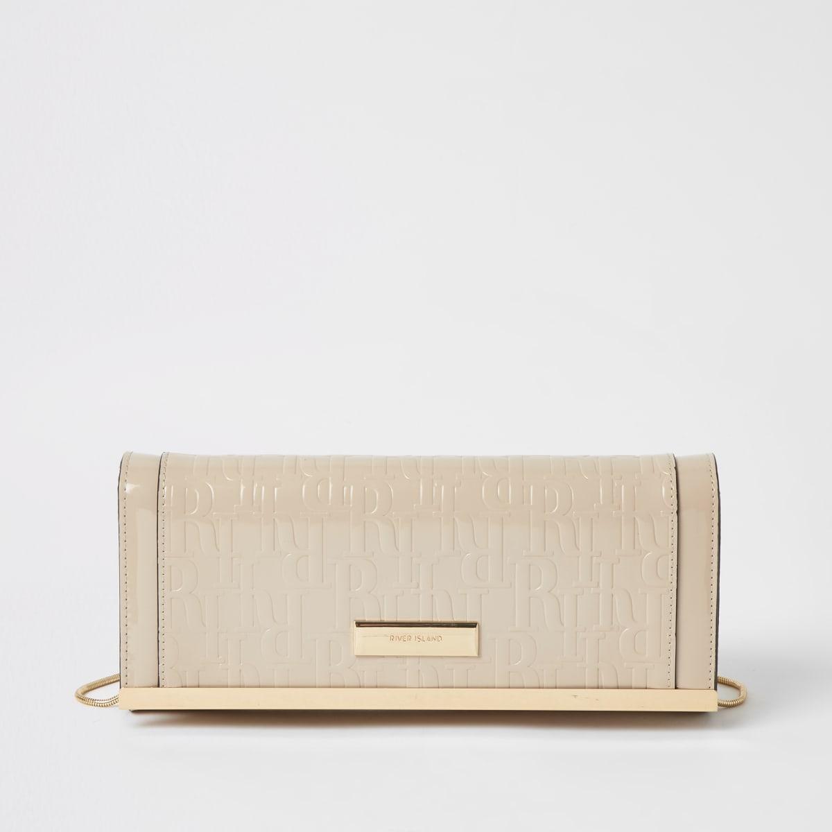 RI– Beige Clutch-Tasche mit Prägung