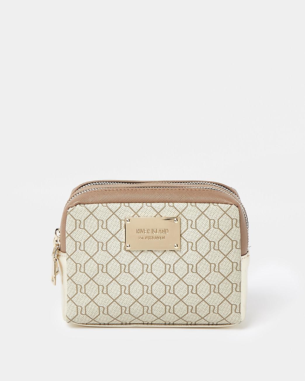 Beige RI embossed double zip make up bag