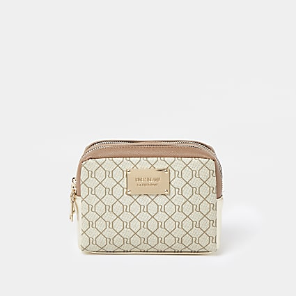 Beige RI embossed double zip make up bag
