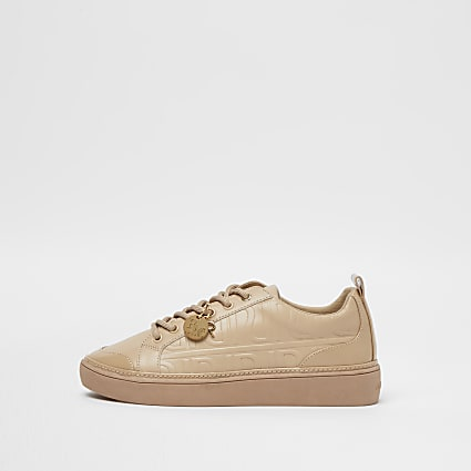 Beige RI embossed lace up trainers