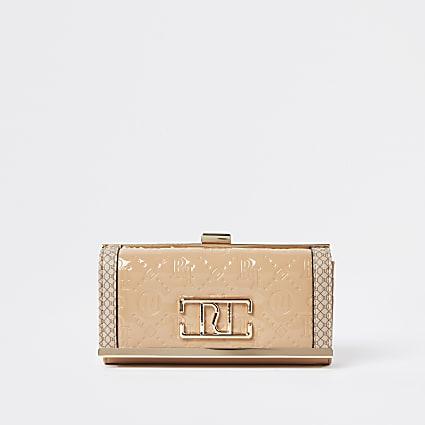 Beige RI embossed patent cliptop purse