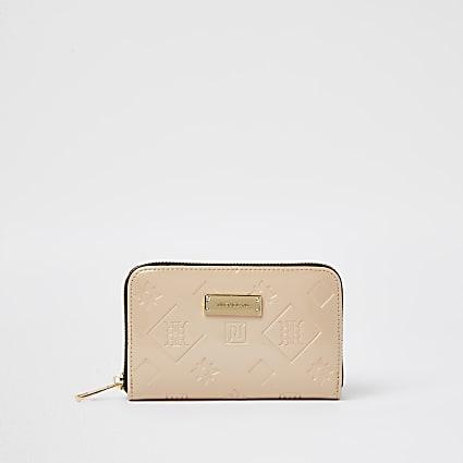 Beige RI embossed patent purse