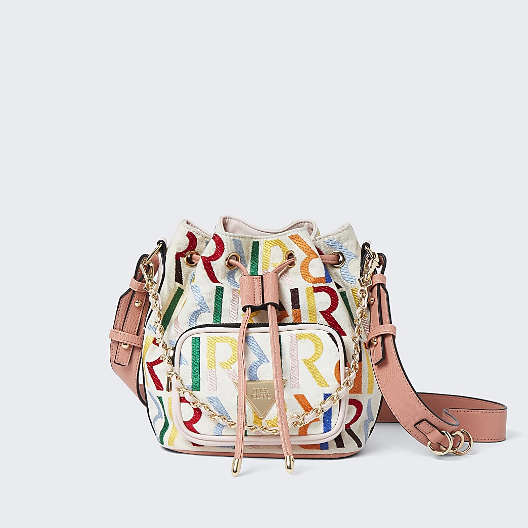 Beige RI embroidered duffle bag