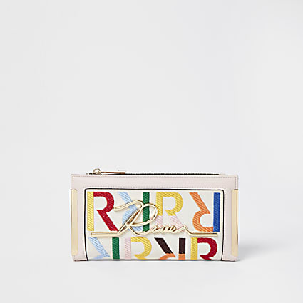 Beige RI embroidered purse
