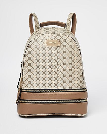 Beige RI monogram backpack