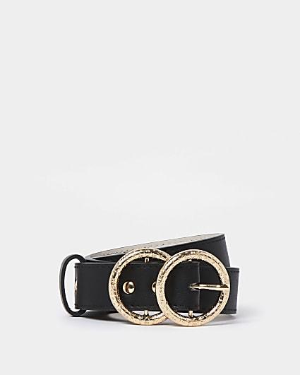Beige RI monogram buckle belt