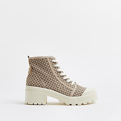 Beige RI monogram canvas lace up ankle boot