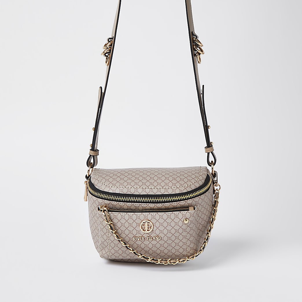 Beige RI monogram chain detail cross body bag