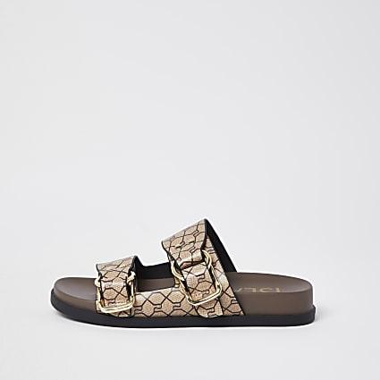 Beige RI monogram double buckle strap sandal