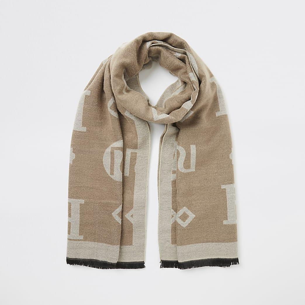 Beige RI monogram jacquard scarf