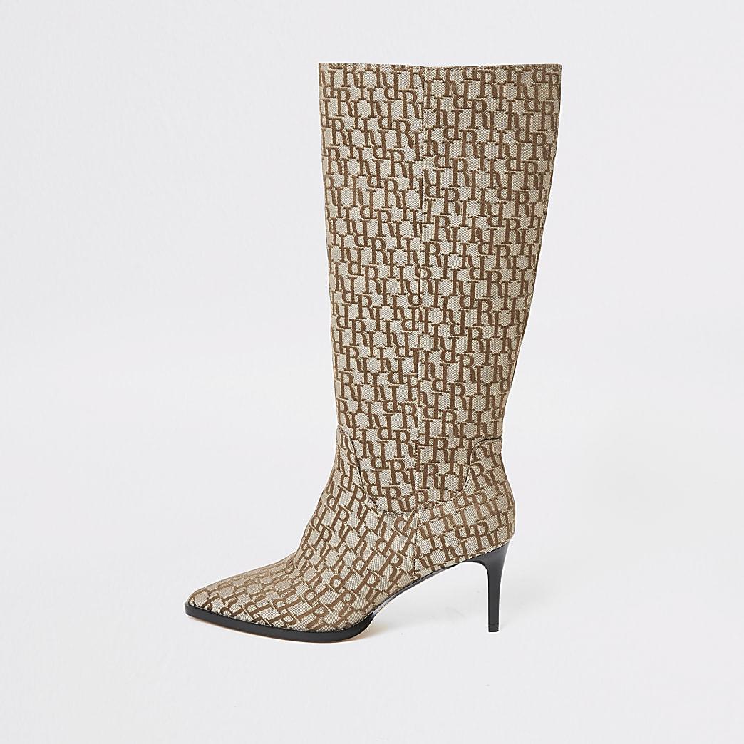 Beige RI monogram knee high pointed boots