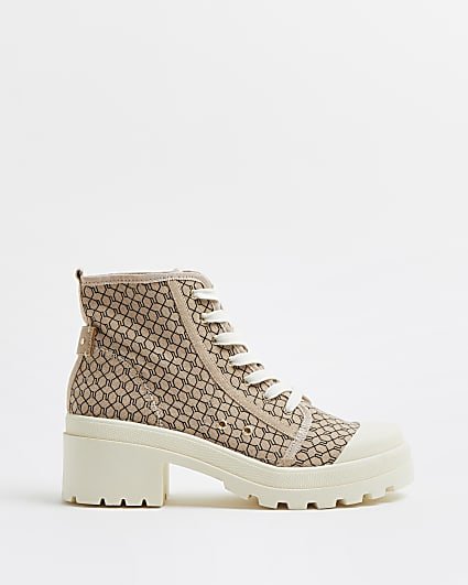 Beige RI monogram lace up ankle boots