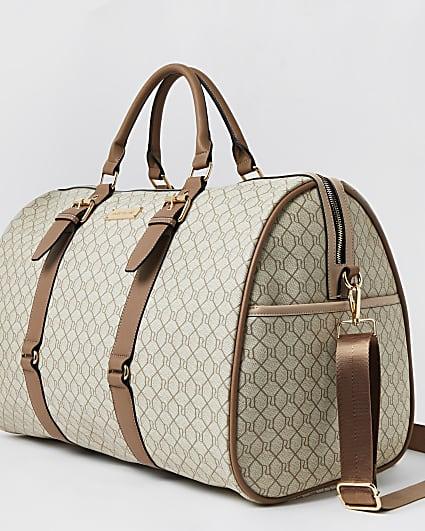 Beige RI monogram large weekend bag